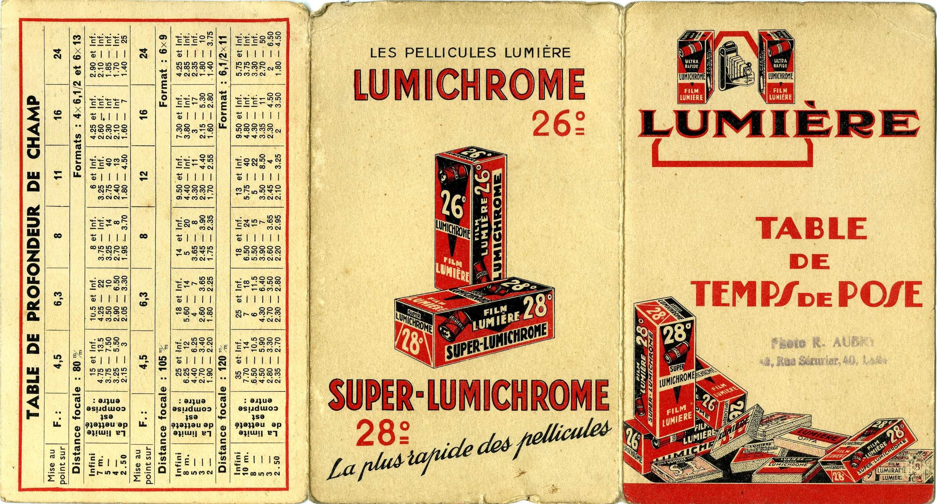 Lumière - Table de temps de pose Lumichrome 26°