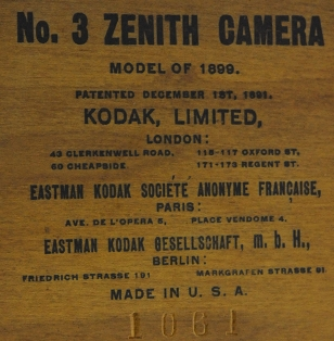 Kodak Ltd. - N° 3 Zenith Camera modèle 1899 detail