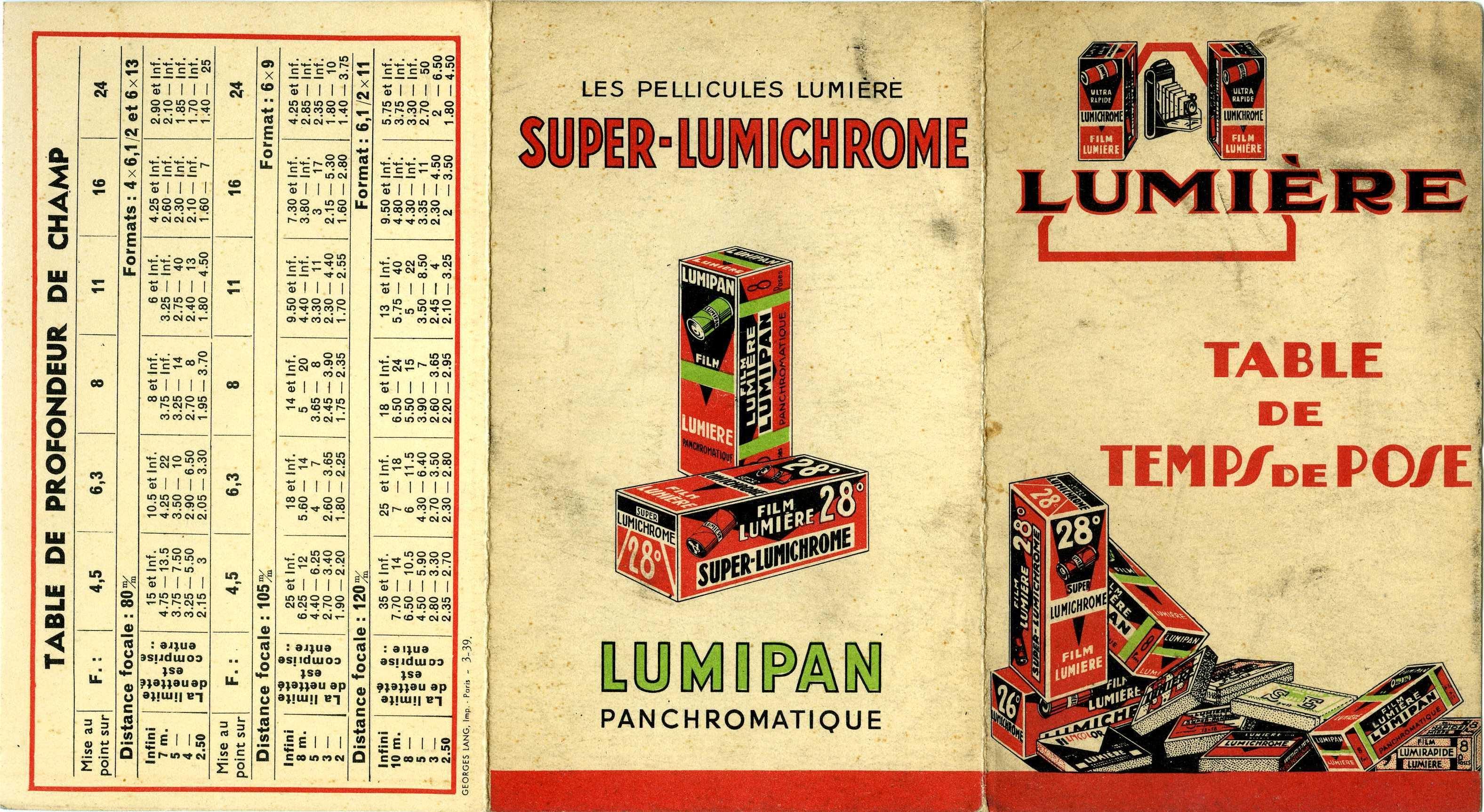 Lumière - Table de temps de pose Super-Lumichrome