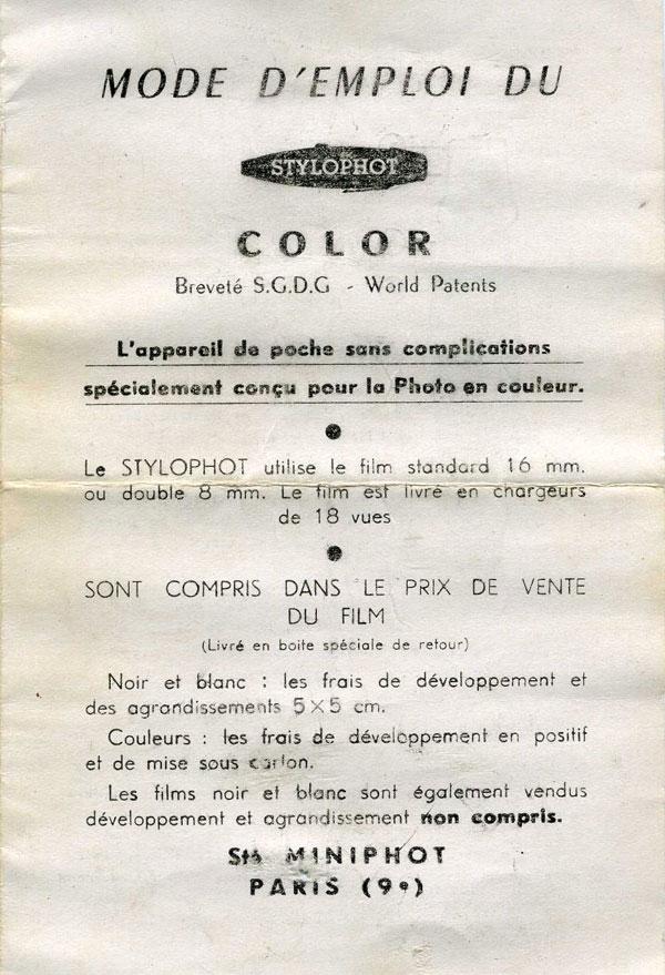 Secam - Stylophot Color notice